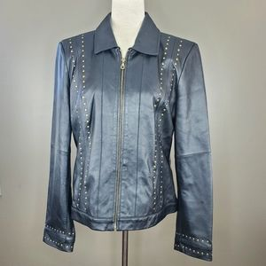 Leather motorcycle spring jacket coat sz L